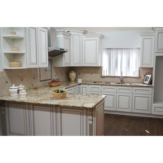Pre-Assembled Antique White Solid Wood Kitchen Cabinets