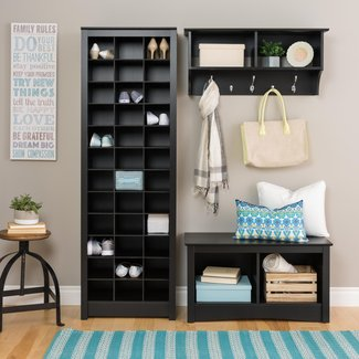 Prepac Space-Saving Black Shoe Storage Cabinet |