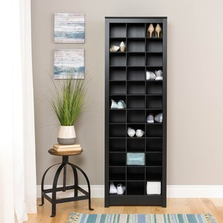 Prepac Space-Saving Shoe Storage Cabinet, Black