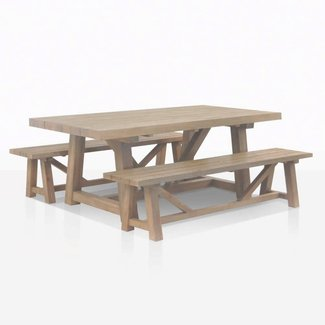 Reclaimed Teak Dining Table with Benches | Teak Warehouse