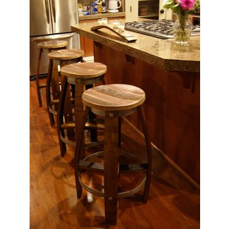 Reclaimed wine barrel Bar Stool $200 | reclaimedwinebarrel