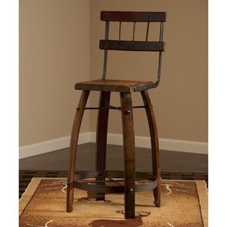 Reclaimed Wine Stave Back Bar Stool