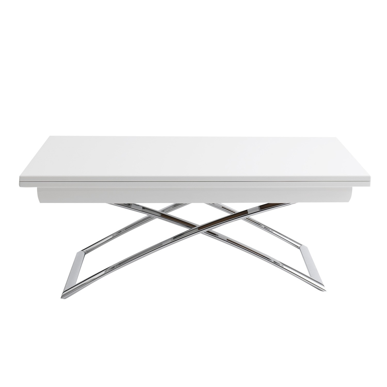 Bon Rectangular White Adjustable Height Coffee Table Ikea With .