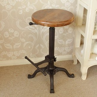 Replica Tractor seat bar stool with wooden top - Melody