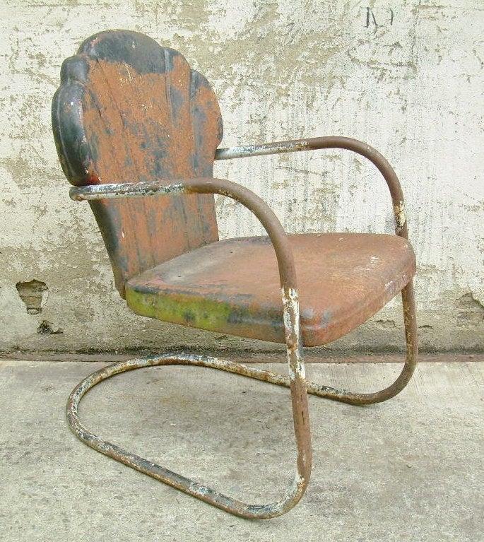 Ordinaire Retro Metal Lawn Chair Scallop Back Rustic Vintage Porch .