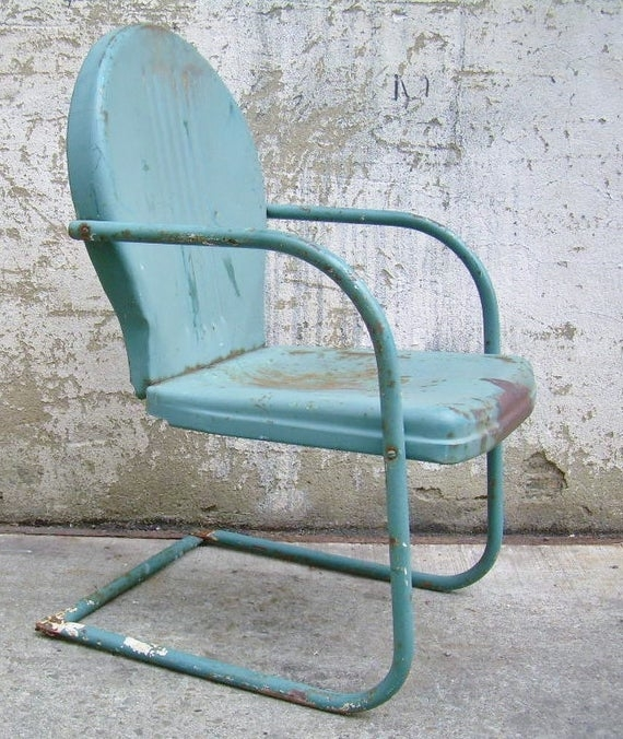 Retro Metal Lawn Chair Teal Rustic Vintage Porch Furniture .