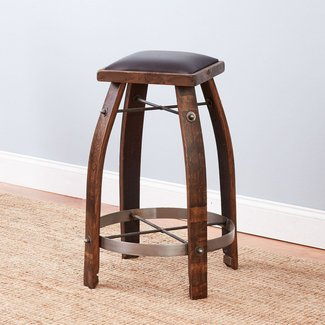 Retro Red Bar Stool Vintage Oak Wine Barrel Bar Stool