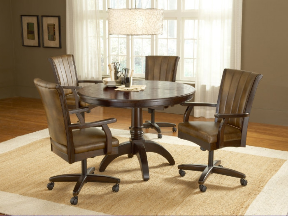 Dinette Sets With Caster Chairs You Ll, Dining Room Chairs With Wheels