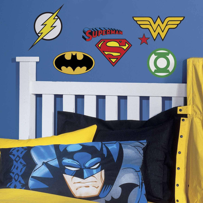 RoomMates RMK2749SCS DC Superhero Logos Peel U0026 Stick Wall Decals, 16 Count