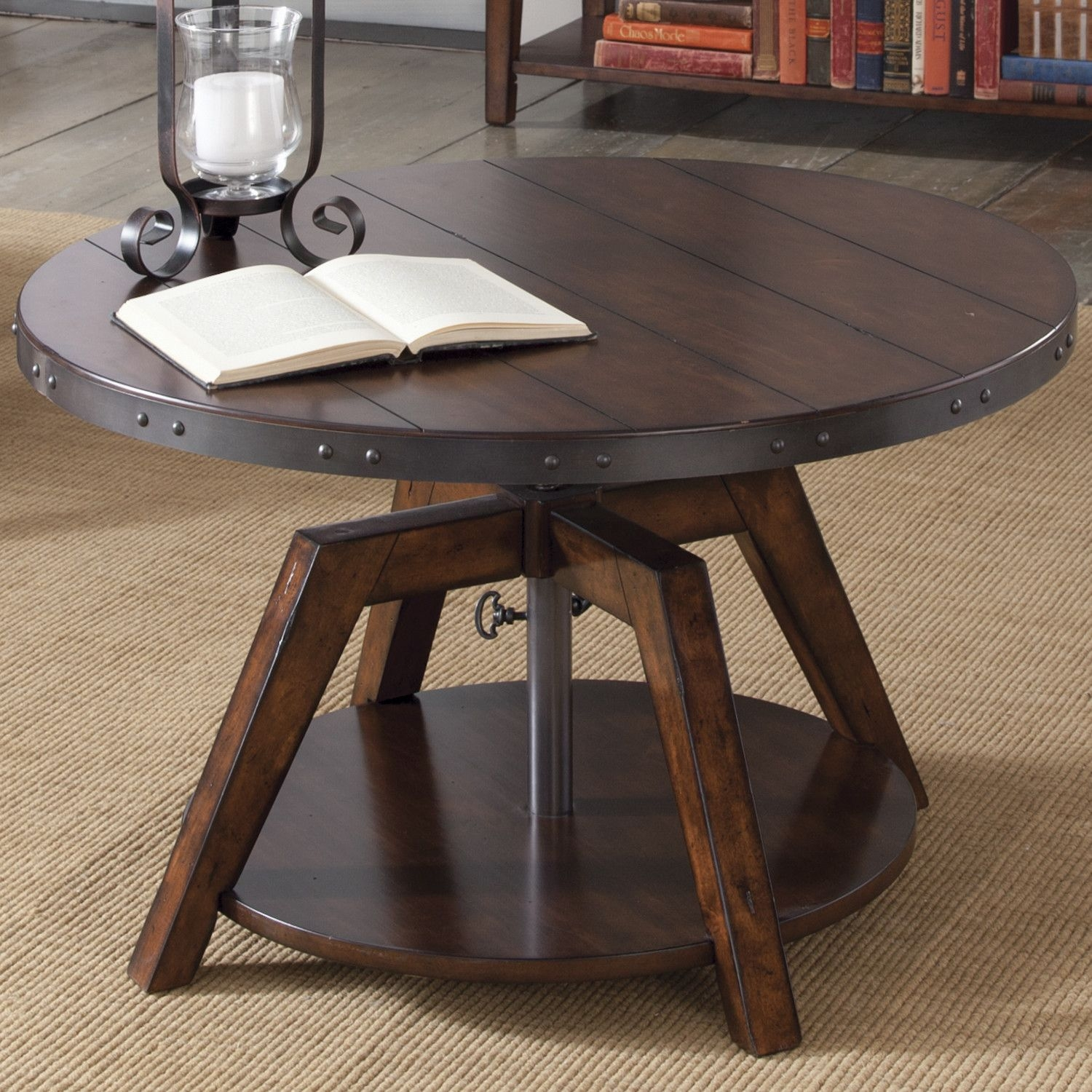 Round Adjustable Height Convertible Coffee Table Dining Table