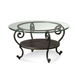 Round Glass Top Mixed Antique Black Wrought Iron Round ...