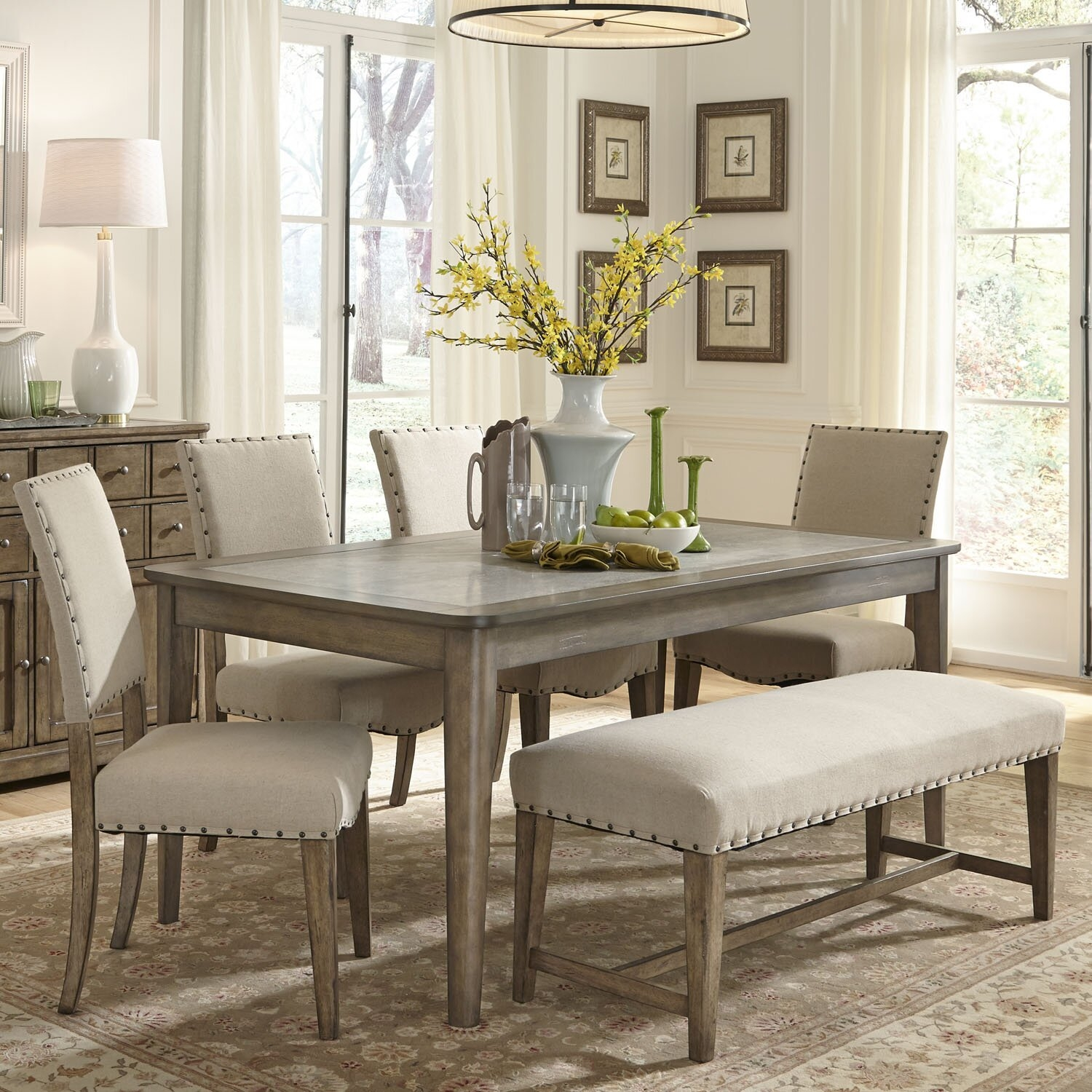 Picture of: Table Furniture Modern Glass Dining Table And 6 Padded Seat Chairs Dining Room Kitchen Furniture Home Furniture Diy Zabbaan Com