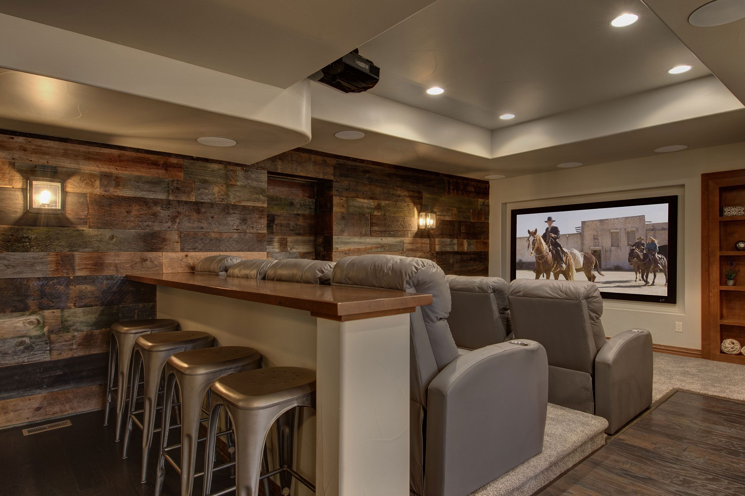 Rustic home cinema