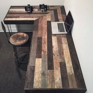 Rustic L-Shaped Desk Made from Reclaimed Wood by ...
