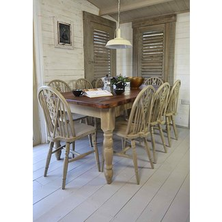 Rustic Shabby Chic Dining Table with 8 Wheelback Chairs