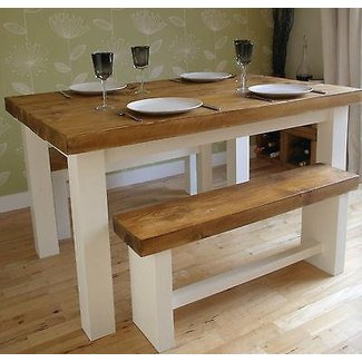 Rustic shabby chic farmhouse dining table and benches | in