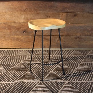 Rustic Tractor Seat Oak Wooden Bar Stool – Wazo Furniture