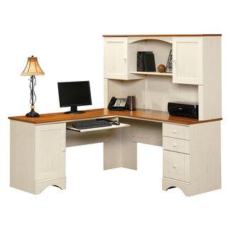 Sauder Harbor View Corner Computer Desk with Hutch ...