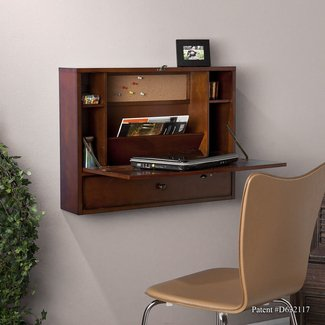 - SEI Wall Mount Laptop Desk, Brown Mahogany ...