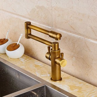 Senlesen Deck Mount Antique Brass Bathroom Faucet Kitchen Sink Mixer Tap Swivel Spout with Cove Plate