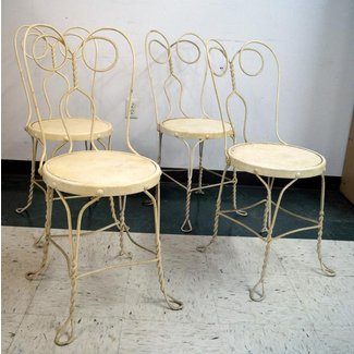 SET (4) VINTAGE ICE CREAM PARLOR WROUGHT IRON CHAIRS