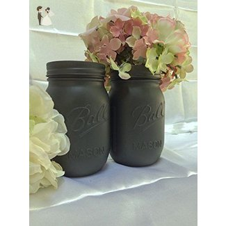 Set of 2 Painted Mason Jars Grey Rustic Home Decor Accents