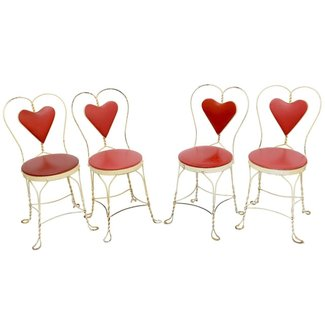 Set of 4 Antique Ice Cream Parlor Chairs at 1stdibs