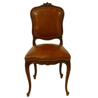 Set of Six French Country Leather Dining Chairs at 1stdibs