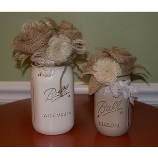 SHABBY CHIC Burlap Mason Jar Flower Arrangements by jaxscorner