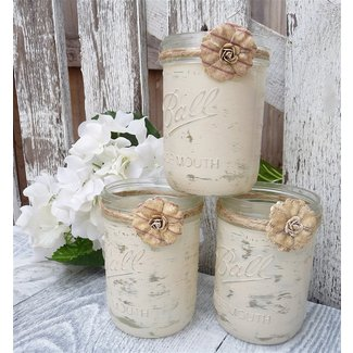 Shabby Chic Country Upcycled Mason Jar Candle Holders ...