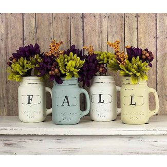 Shabby Chic Fall Mason Jar Vases - Project by DecoArt