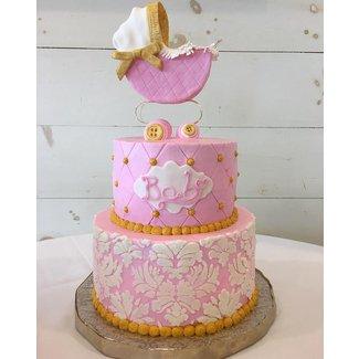 Shabby chic girl baby shower cake - cake by Brandy-The