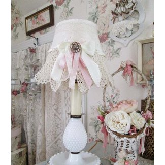 shabby chic lamp and shade hobnail white romantic cottage