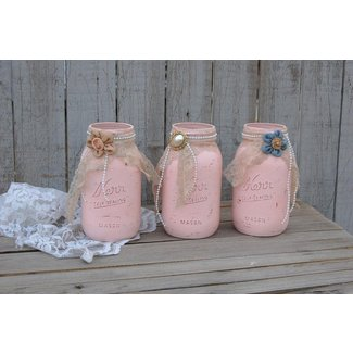Shabby Chic Mason Jars, Pink, Lace, Distressed, Rustic ...