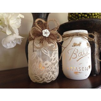 Shabby Chic Mason Jars. Wedding Centerpieces. Lace Candle