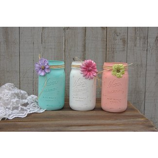 Shabby Chic Mason Jars White Mint Green Blush Coral Hand