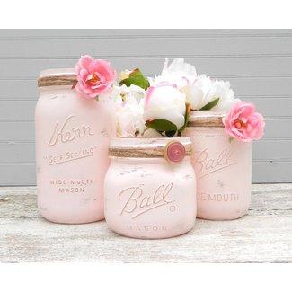 Shabby Chic Pink Mason Jars Painted Mason Jars Mason Jar