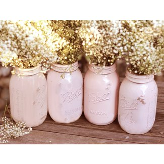 Shabby Chic Weddings / Mason Jars / Distressed Paint Glass