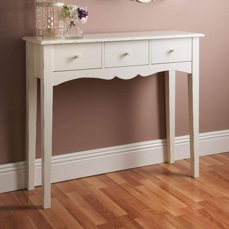 Shabby Chic Wooden 3 Drawer Console Table
