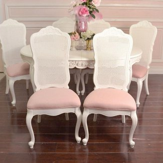 Shabby Cottage Chic Set 6 Dining Chair White Cane Back