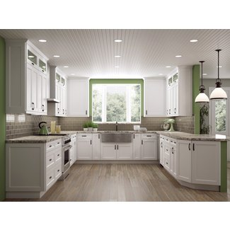 Shaker White or Antique White Kitchen Cabinets-We ship ...