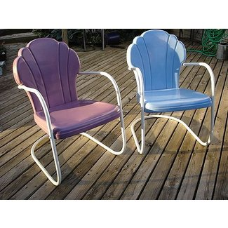Shell back vintage metal lawn chairs | CB160 Guy |
