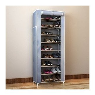 Shoe Organizer 10-Tier Shoe Tower Rack with Cover 27-Pair Space Saving Shoe Storage Organizer Grey