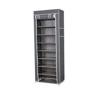 Shoe Rack Portable 10 Tiers Dustproof Cover Shoe Closet 27 Pairs Non-Fabric Shoe Shelf Cabinet Storage Organizer