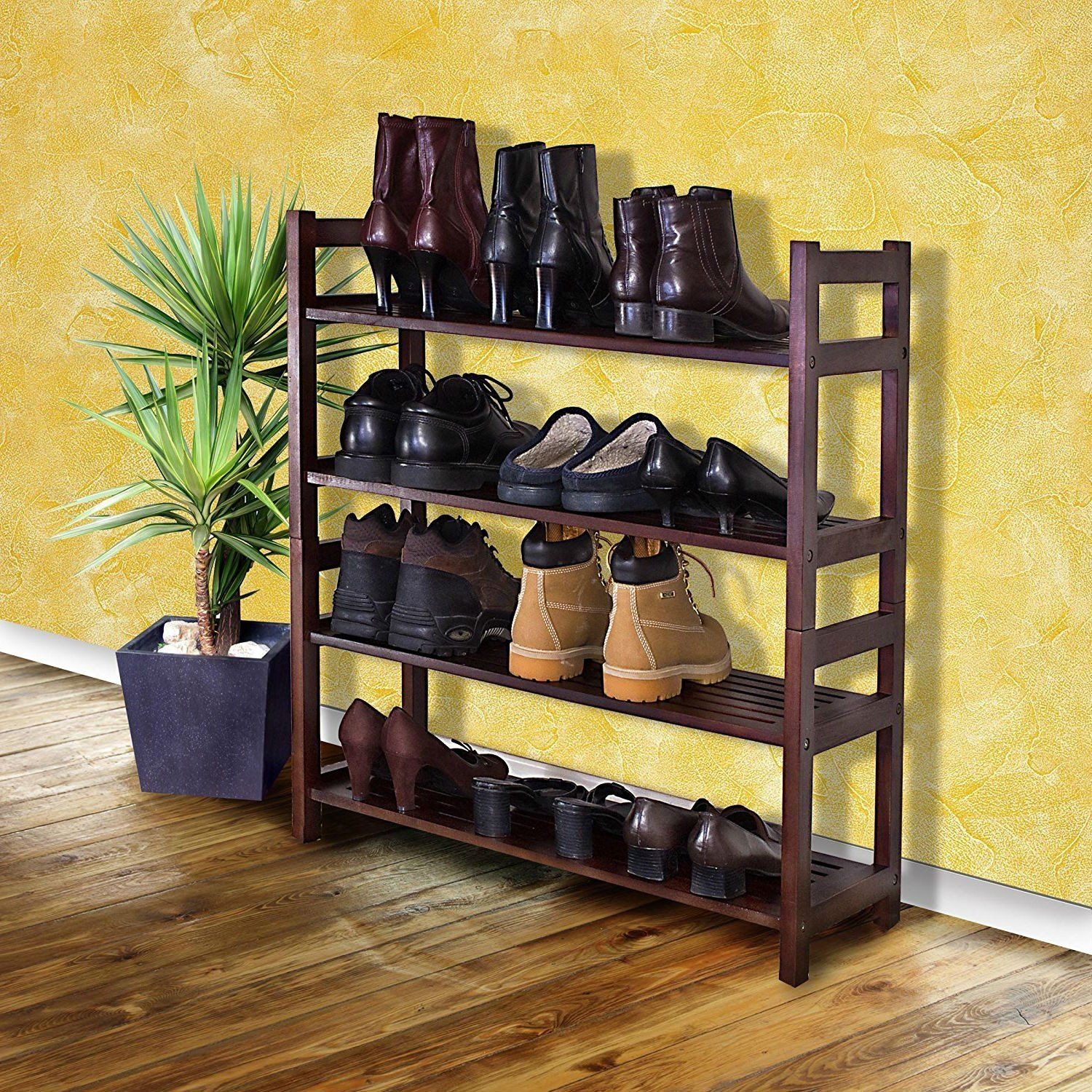 Shoe Storage Rack Wood Closet Organizer Shoes Space Saving .