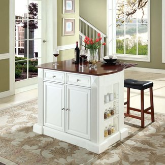Shop Crosley Furniture White Craftsman Kitchen Island with ...