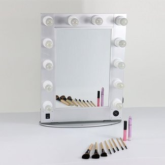 Silver and Black hollywood style mirror professional ...
