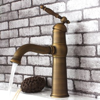 Single Lever Handle Antique Brass Bathroom Faucet 115F ...