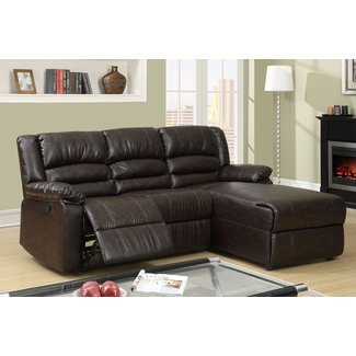 Small Coffee Leather Reclining Sectional Sofa Recliner ...