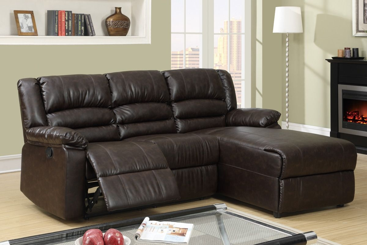 Small Coffee Leather Reclining Sectional Sofa Recliner .